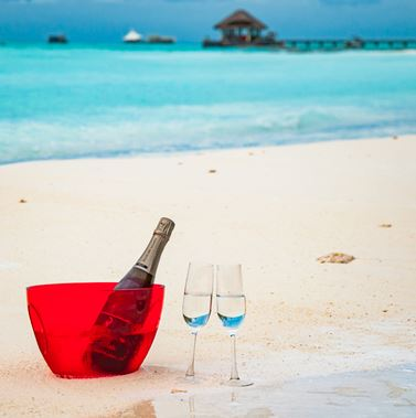 Have a bottle of champagne in Maldives