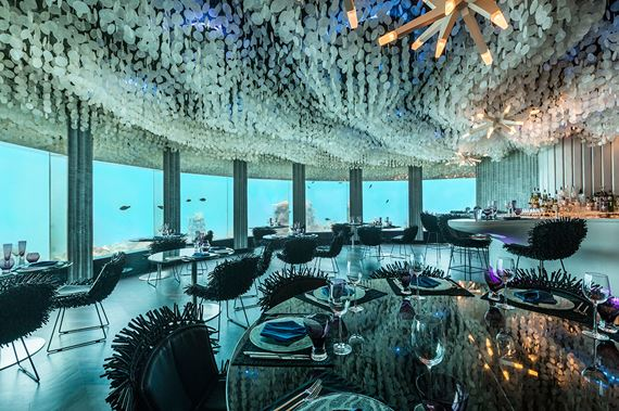 Breakfast in the underwater sea restaurant