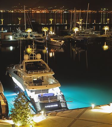 Porto Montenegro marina night view